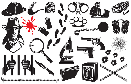 Detective vector icons set (Sherlock Holmes hat, hands in handcuffs, revolver, chain with shackle, barbed wire, bullet hole in glass, tobacco pipe, hacker, gloves, microscope, safe, knife, magnifier, blood) Illustration
