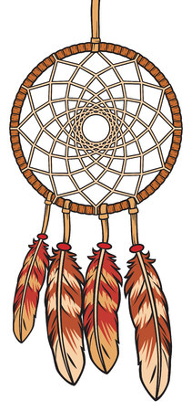 A native american Indian talisman dream catcher vector illustration
