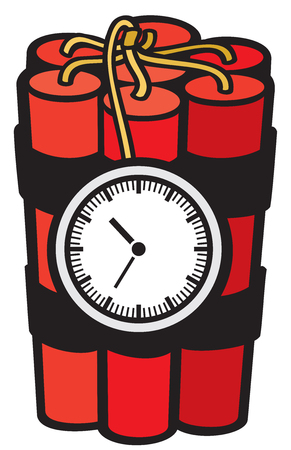 fire wire: A dynamite sticks with clock timer vector illustration (bomb)