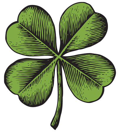 luckiness: clover with four leaf - vintage engraved vector illustration (hand drawn style)