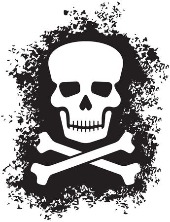Skull and bones (pirate symbol) in grunge style