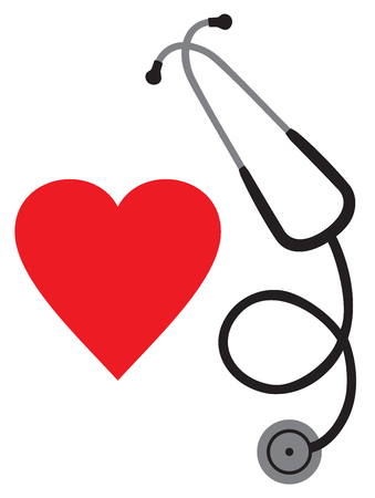 listening to heartbeat: Doctor`s stethoscope and heart vector icon