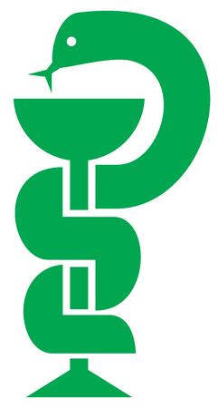 medical doctors: Medical symbol (emblem for drugstore, snake and a bowl sign) Illustration