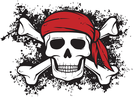 Crâne et os (symbole pirate) en style grunge Vecteurs