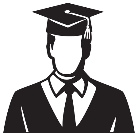 Man (student) graduate vector illustration Illustration