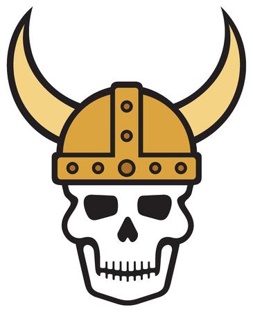 dreadful: Human skull and viking helmet vector illustration Illustration