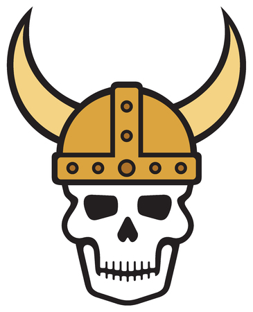 Human skull and viking helmet vector illustration Illustration
