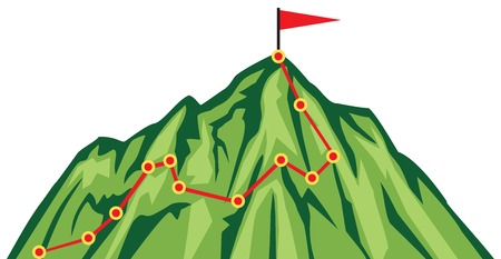 hiking: Mountain climbing route (mountaineering vector illustration) Illustration
