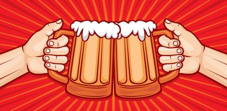 two hands toasting glasses of beer vector illustration (party celebration design)