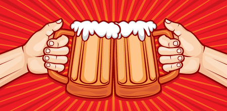 two: two hands toasting glasses of beer vector illustration (party celebration design)