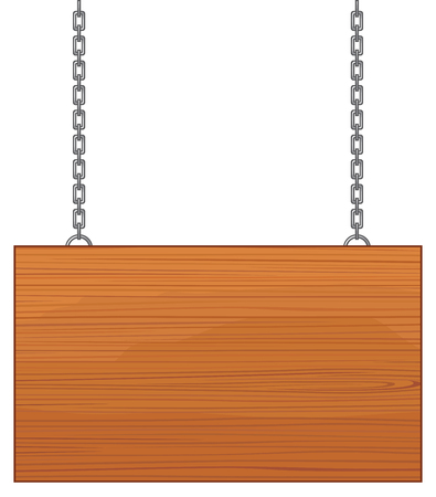 heavy: Blank wooden sign hanging on a metal chain Illustration