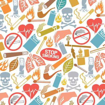 Background pattern with smoking icons (native american peace pipe, cigarette butt, burning match stick, zippo lighter, cuban cigar, tobacco leaf)