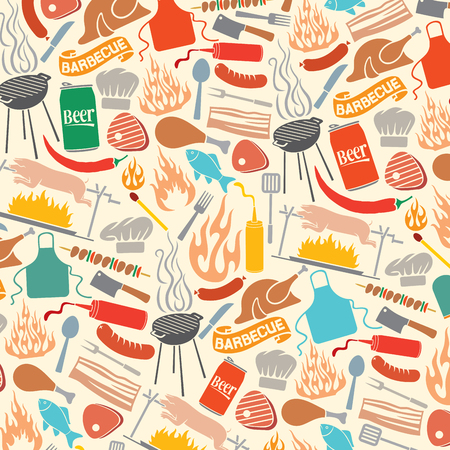pattern: background pattern with barbecue and food icons Illustration