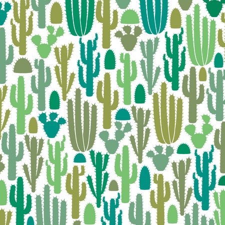 background pattern with group of cactus icons