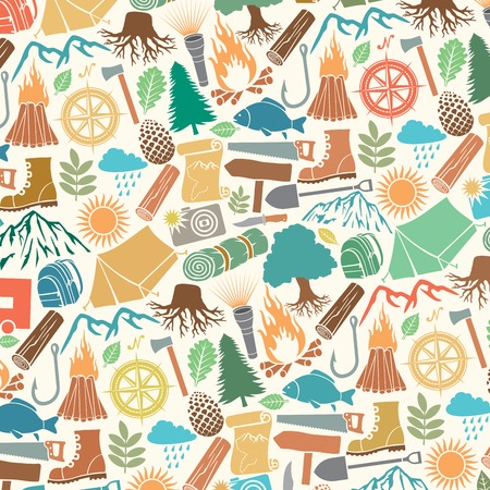holiday background: background pattern with camping icons
