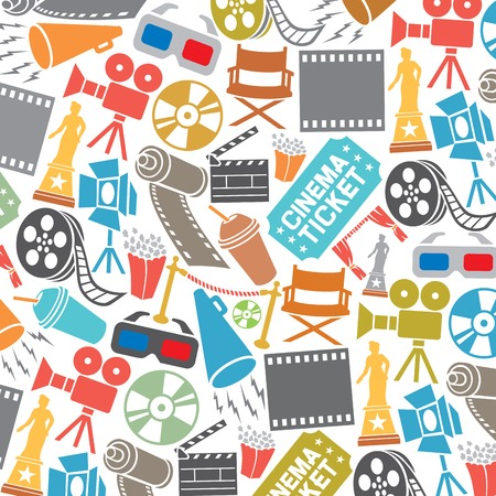 background pattern with cinema icons (film strip, popcorn, clapboard, camera, ticket, director chair, dvd, cd, film roll, stage projector, award, 3D glasses, reel)
