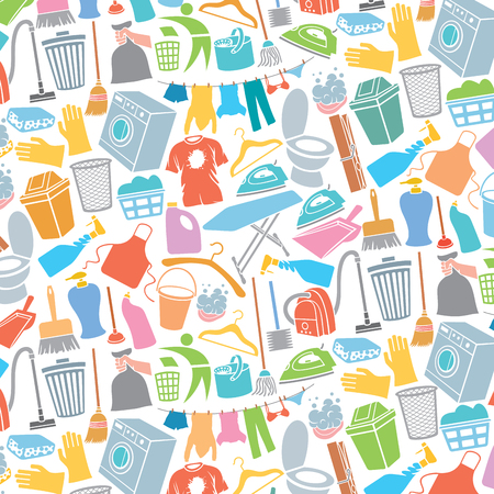 background pattern with laundry and cleaning icons (soap with foam, washing machine, clothes hanging on a clothesline, detergent)