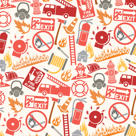 hatchet: background pattern with firefighter icons and symbols Illustration
