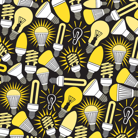 electronic background: background pattern with light bulbs icons Illustration