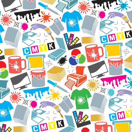 decoration: Background pattern with printing icons (palette, printer, CMYK and RGB colors, paintbrush, pipette, monitor, magnifier, plotter, gamma and tool)