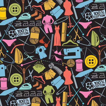 hangers: background pattern with sewing and needlework icons
