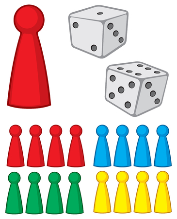 board game figures (pieces) with dices vector illustration Иллюстрация