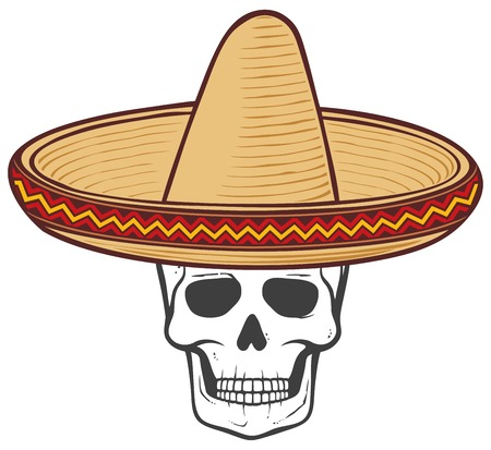 A sombrero (mexican hat) and skull vector illustration Illustration