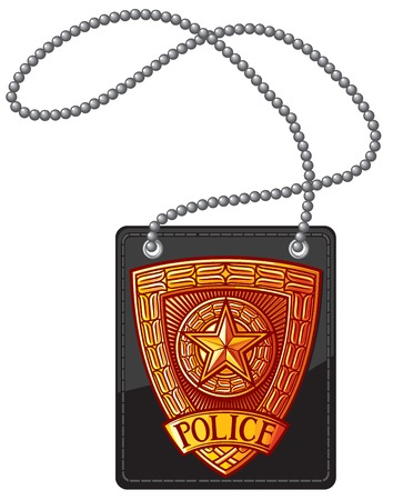 A police badge leather holder with chain vector illustration