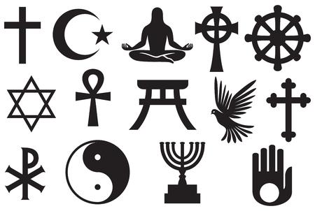 Conjunto de símbolos de religiones del mundo - cristianismo, Islam, judío, budismo, hinduismo, taoísmo, sintoísmo, jainismo Foto de archivo - 88703409