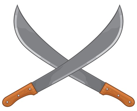 two crossed machete vector illustration