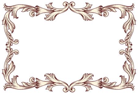 ビンテージ境界線フレーム ベクトル図 (バロック デザイン)