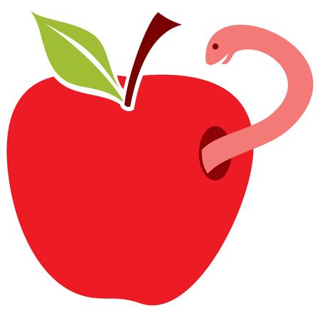 lombriz de tierra: worm in red apple vector illustration Vectores
