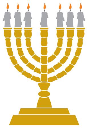 Joodse menorah kandelaar vectorillustratie Stock Illustratie