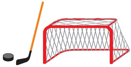 hockey stick, puck and goal (net) vector illustration