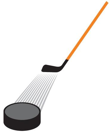 hockey stick en hockey puck vector illustratie
