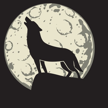 A silhouette of a howling wolf in the moonlight