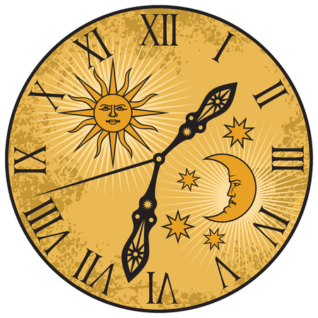 Old clock with sun and moon design vector illustration