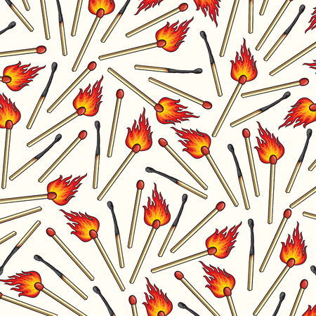 Seamless pattern of matches for background design Illustration
