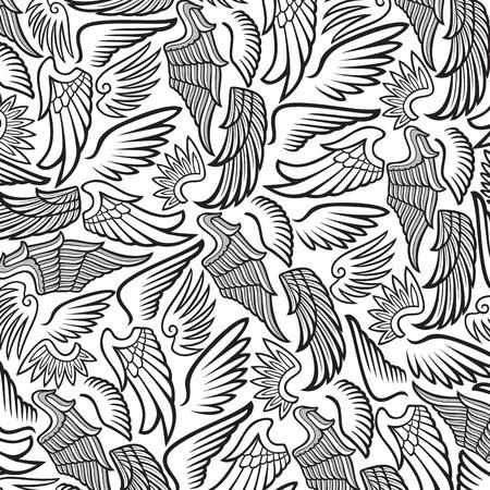 Seamless pattern of wings design Illustration
