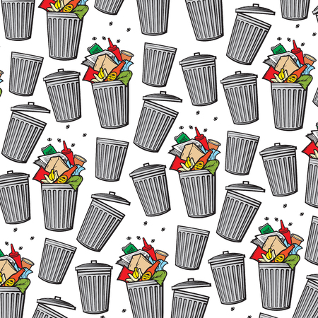 Vector background pattern with trash can.