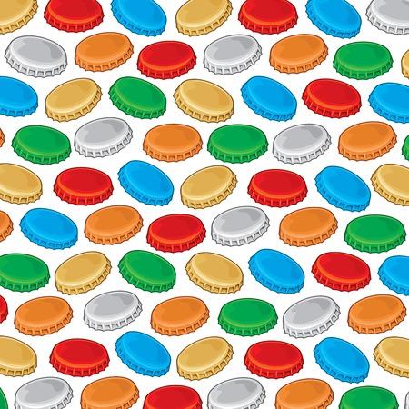 Seamless pattern of bottle cap design Illustration