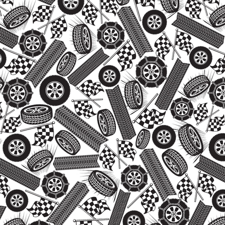 Background pattern with tires and checkered flags.