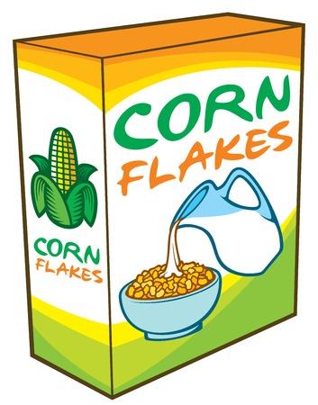 Flocons de maïs emballage boîte vector illustration (petit-déjeuner sain).