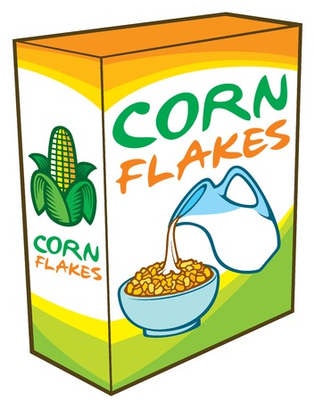 Corn flakes packing box vector illustration (healthy breakfast).