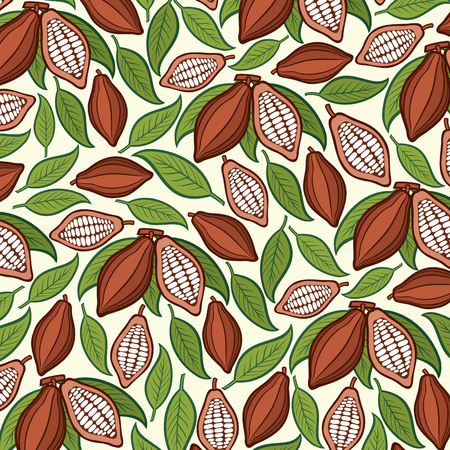 Background pattern with cocoa beans.