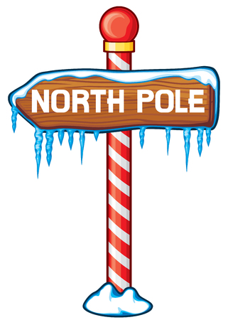 North Pole wooden sign vector illustration.