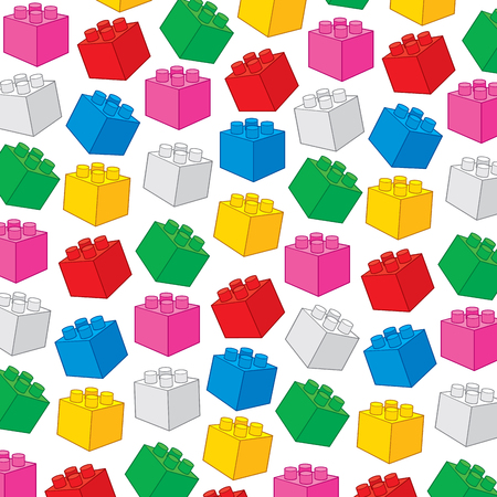 Plastic building block (toy construction elements vector illustration).