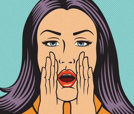 Vector illustration of beautiful woman calling someone (shouting loud) in pop art style.