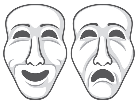 Two theatre masks vector illustration.