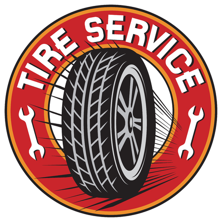 Tire service label. 矢量图像